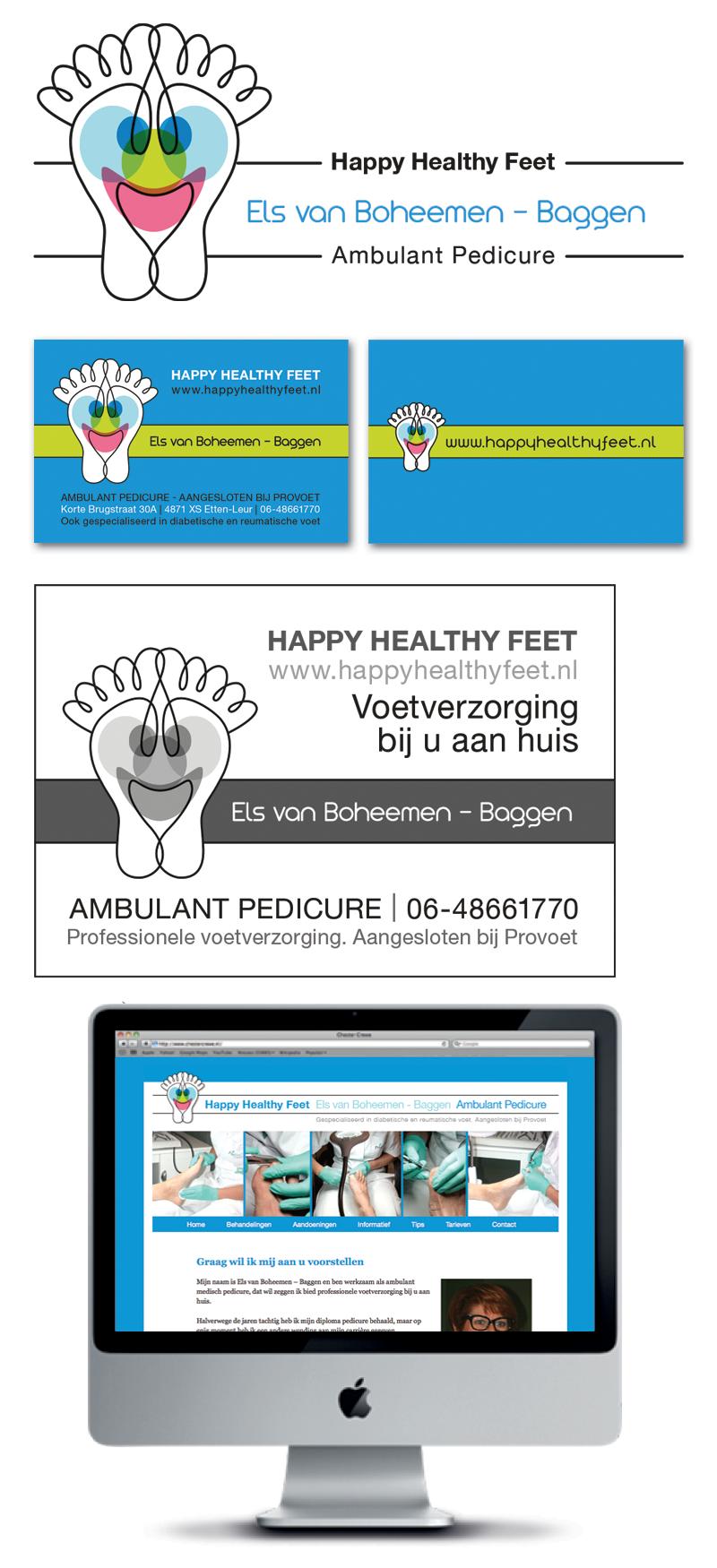 Logo, Advertentie, website Pedicure Happy Healthy Feet